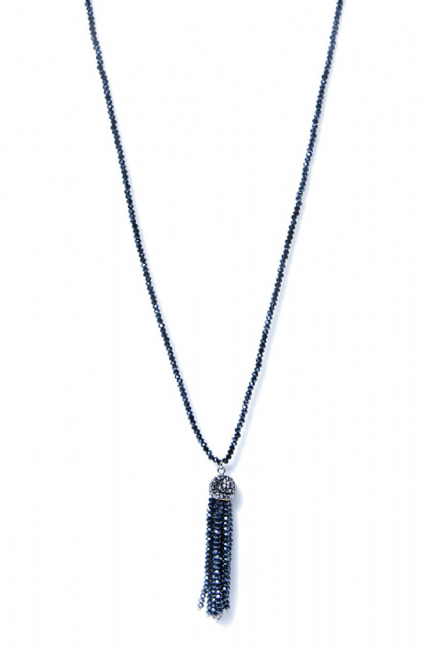 BLUE GREY TASSEL BEAD NECKLACE